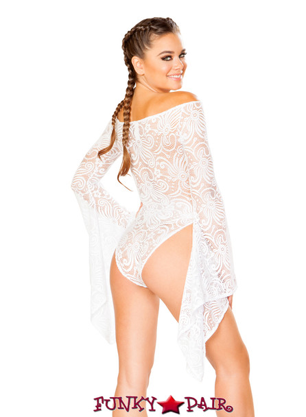 J. Valentine | Cyclone Lace Long Sleeve Gypsy Bodysuit JV-FF112 Color white back view