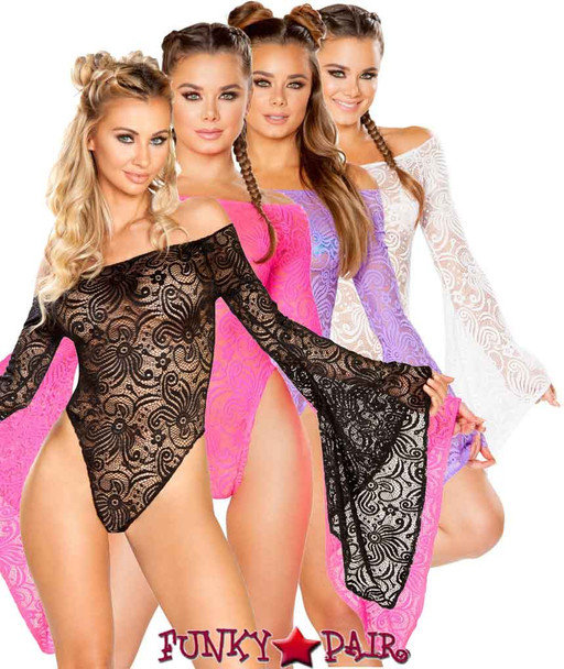 J. Valentine | Cyclone Lace Long Sleeve Gypsy Bodysuit JV-FF112 Color available: White, Black, Hot Pink, Lavender