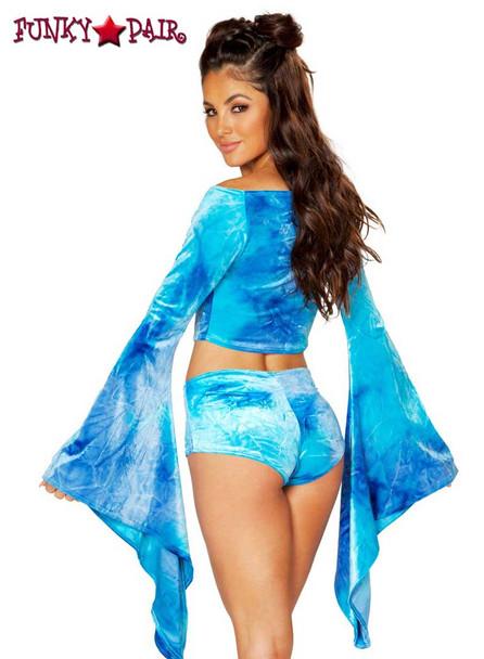 Rave Wear Velvet Crop Top | J Valentine JV-FF115 Color  sky blue back view