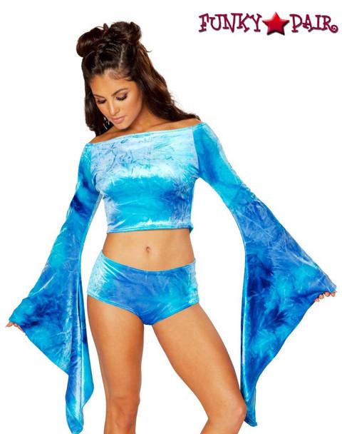 Rave Wear Velvet Crop Top | J Valentine JV-FF115 Color sky blue
