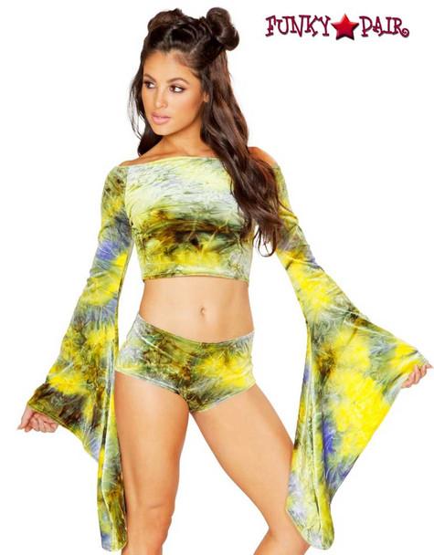 Rave Wear Velvet Crop Top | J Valentine JV-FF115 Color earth olive/yellow