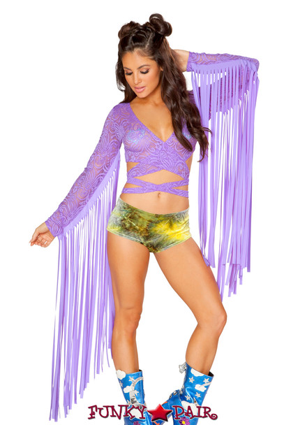J Valentine | Fringe Lace Wrap Top Rave Wear JV-FF445