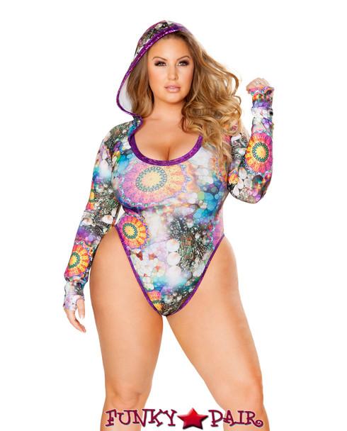 J Valentine   Hooded Long Sleeve Bodysuit Rave Wear JV-FF126 Color Stoned / Raspberry Plus Size