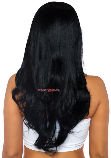 Long Wavy Wig   Leg Avenue LA-2829 black back view