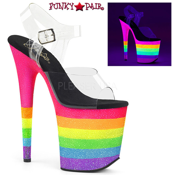 Pleaser Shoes Flamingo-808UVRB, Stiletto Heel Sandal with Rainbow Platform