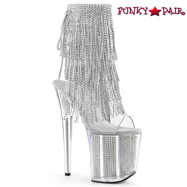 Pleaser | Flamingo-1017SRS, 4 Layer Fringe Platform Ankle Boots color silver