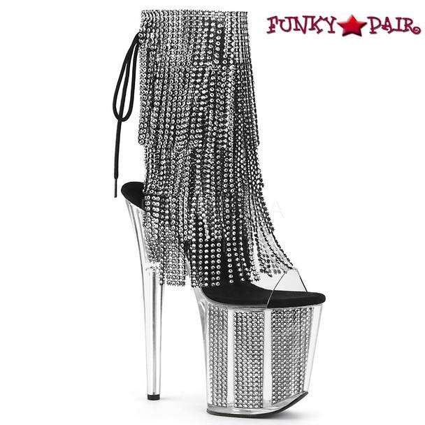 Pleaser | Flamingo-1017SRS, 4 Layer Fringe Platform Ankle Boots color black