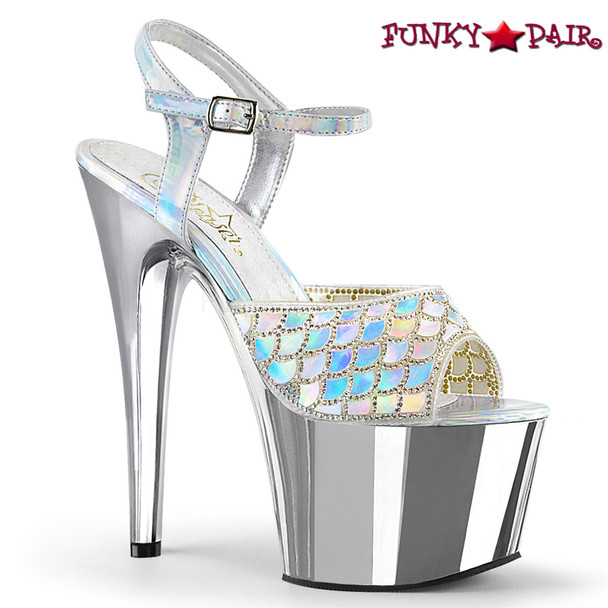 Pleaser | Adore-709MMRS, Mermaid Scale Design Platform Sandal color Silver
