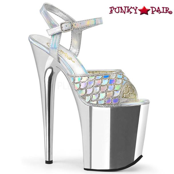 Pleaser | Flamingo-809MMRS, Stiletto Heel Mermaid Scale Design with Rhinestones Platform Sandal Color Silver