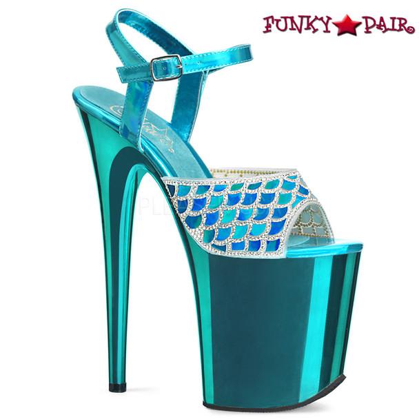 Pleaser | Flamingo-809MMRS, Stiletto Heel Mermaid Scale Design with Rhinestones Platform Sandal Color Turquoise