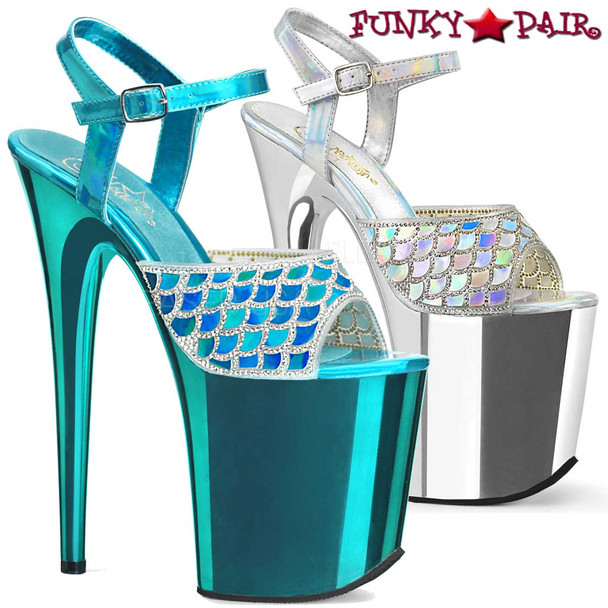Pleaser | Flamingo-809MMRS, Stiletto Heel Mermaid Scale Design with Rhinestones Platform Sandal. Available Color: Turquoise and Silver