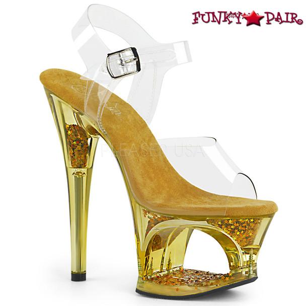 Pleaser | Moon-708GFT, Tinted Cut out Platform Sandal Color Gold