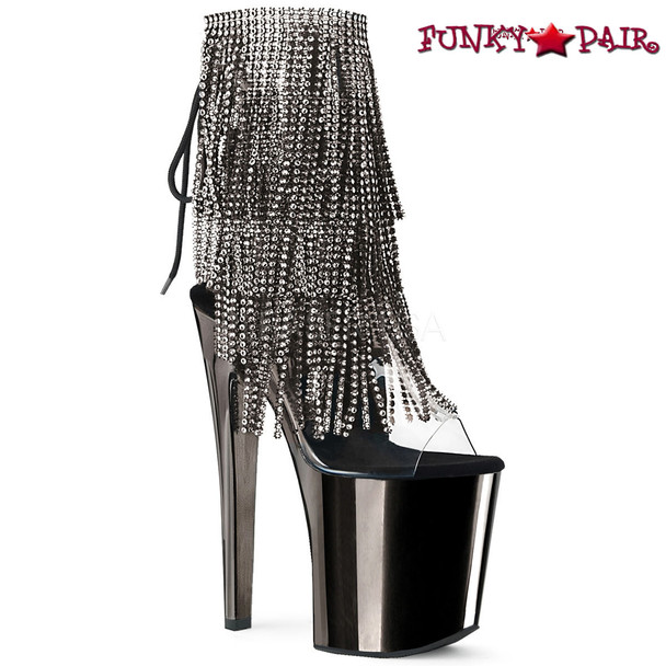 Pleaser | Xtreme-1017RSF, Fringe Ankle Boots with Chrome Platform color pewter