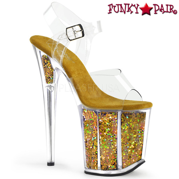 Pleaser | Flamingo-808GF, Holographic Glitter Platform Stiletto Heel Sandal Color gold