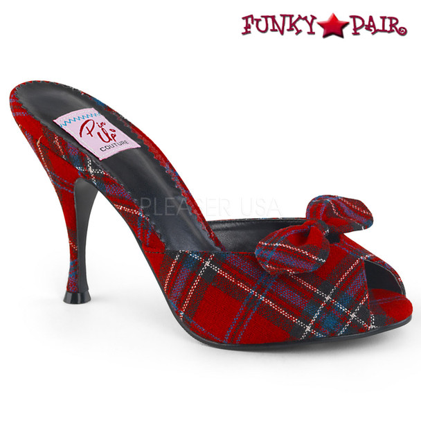 Pin Up Shoes | Monroe-08, Slide Shoes with Bow Color Red Plaid