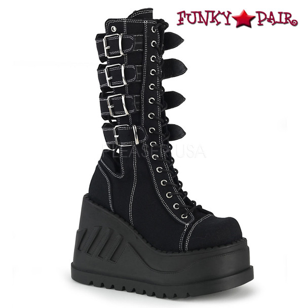 Women's Demonia Boots  Stomp-210, Platform Wedge with Buckles