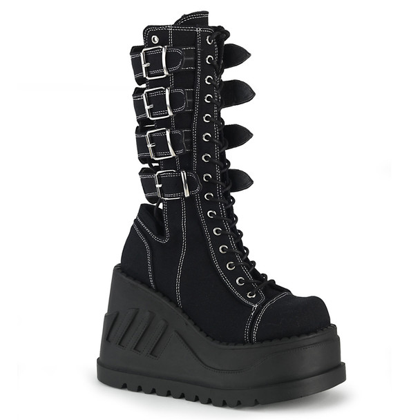 Stomp-210, Platform Wedge with Buckles Women's Demonia Boots
