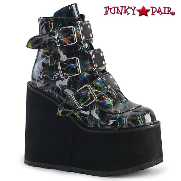 Demonia | Swing-105LBH, Platform Ankle Boots with Lightning Design