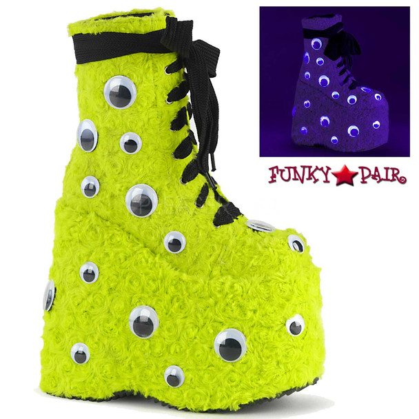 Raver Green Platform with Googly Eyes by Demonia Slay-206