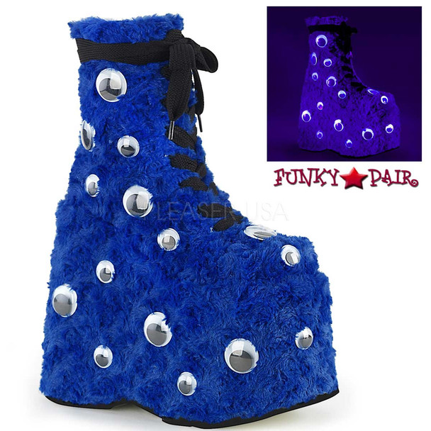 Raver Blue Platform with Googly Eyes by Demonia Slay-206