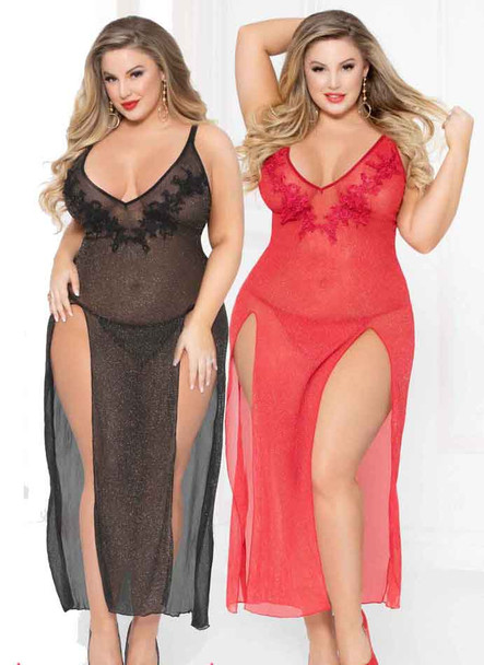 STM-10914X, Plus Size Glitter Mesh Gown | Seven 'til Midnight   color available: black, red