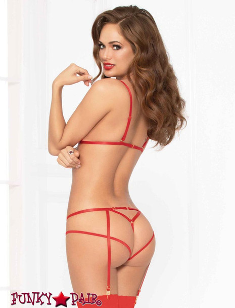 STM-10927, Cross-dye Lace Triangle Bra with G-string and Harness | Seven 'til Midnight back view