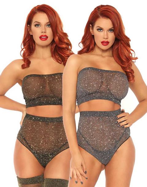 Leg Avenue   LA81571, Shimmer Spandex Bandeau Top and Panty color available: Black/Gold, Black/Silver