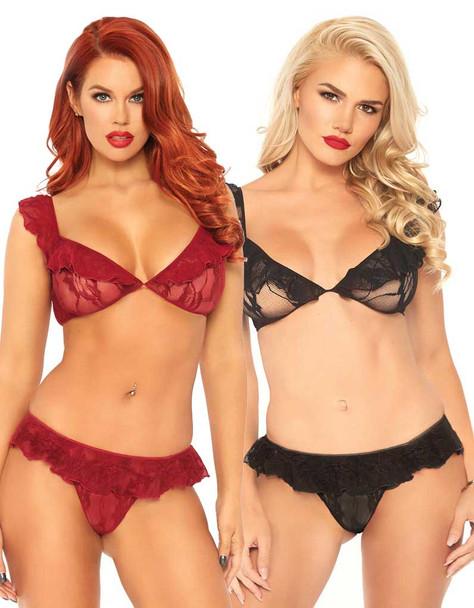 Leg Avenue   LA81574, Lace Ruffle Top and Bottom color available: Burgundy, Black