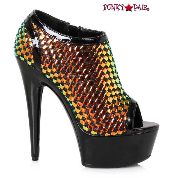Ellie Shoes | 609-Jaclyn, 6 Inch Ankle Boots with Weave Color Black