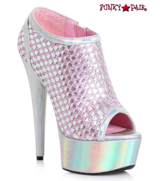 Ellie Shoes | 609-Jaclyn, 6 Inch Ankle Boots with Weave Color Silver
