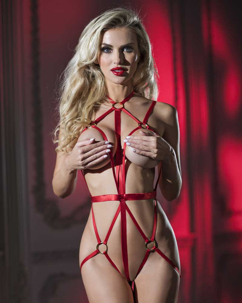 Red Cage Teddy Lingerie | RaveWear AB6095
