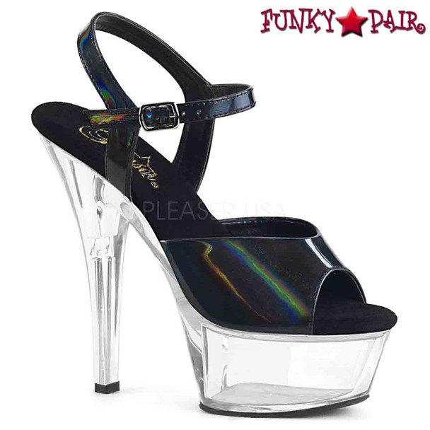 Pleaser Shoes | KISS-209BHG, Brush Holographic Ankle Strap Sandal  color  black