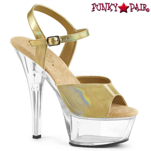 Pleaser Shoes | KISS-209BHG, Brush Holographic Ankle Strap Sandal  color  cream