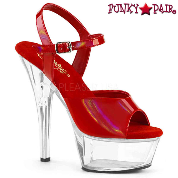 Pleaser Shoes | KISS-209BHG, Brush Holographic Ankle Strap Sandal  color  red