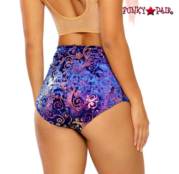 Sequin Embroidered High-Waist Short by J Valentine JV-FF150 color royal prism back view