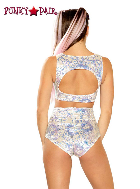 Sequin Embroidered High-Waist Short by J Valentine JV-FF150 color white prism back view