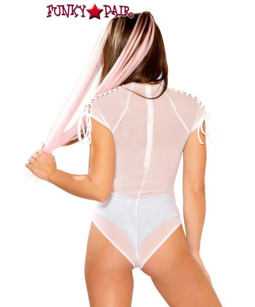 Rave Lace-up Shoulder Bodysuit by J Valentine JV-FF278 color white mesh/silver back view