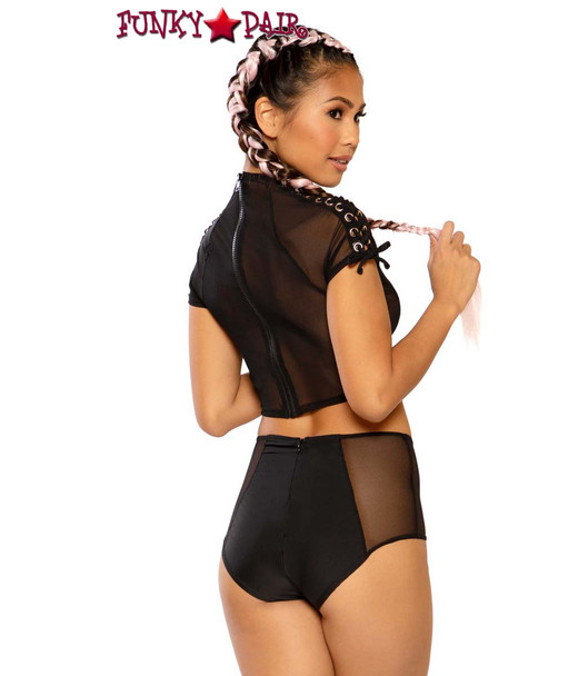 Lace-up Short by J Valentine JV-FF282 color black silver back view