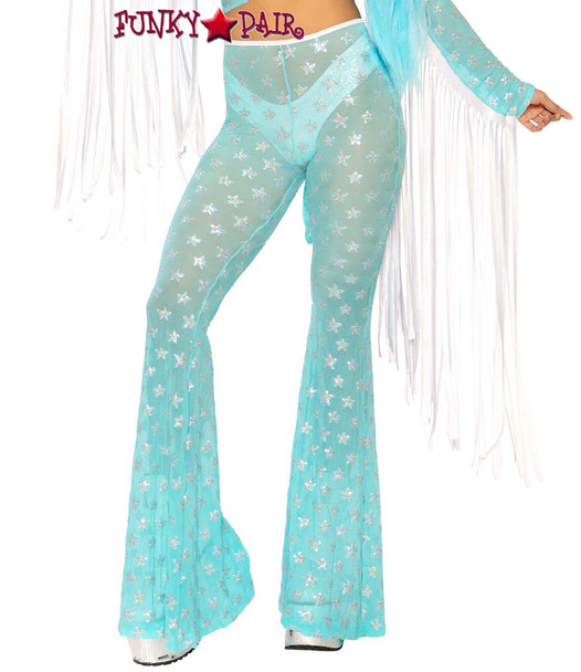 Sequin Bell Bottoms by J Valentine JV-FF108 color aqua silver star