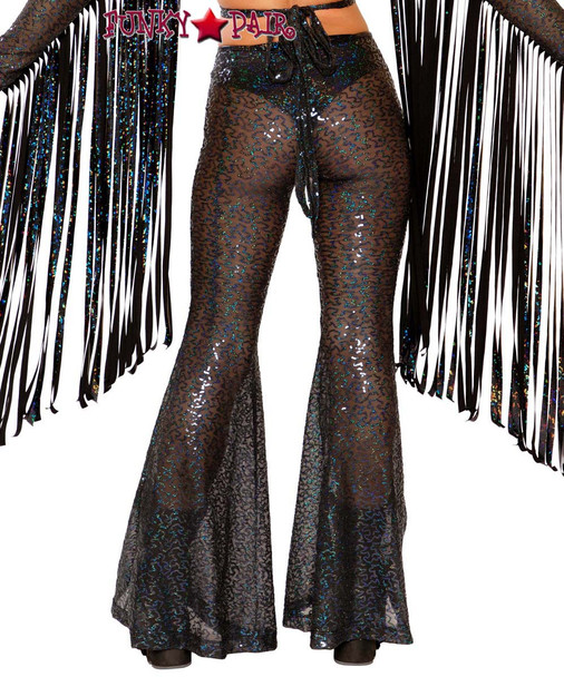 Sequin Bell Bottoms by J Valentine JV-FF108 color black shimmer back view
