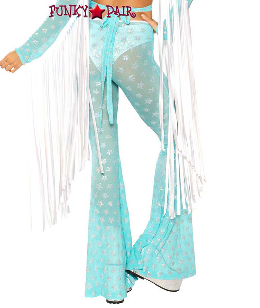 Sequin Bell Bottoms by J Valentine JV-FF108 color aqua silver star back view