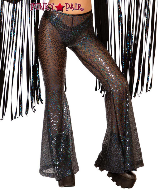 Sequin Bell Bottoms by J Valentine JV-FF108 color black shimmer
