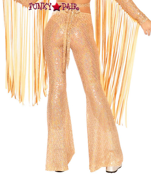 Sequin Bell Bottoms by J Valentine JV-FF108 rose gold shimmer back view