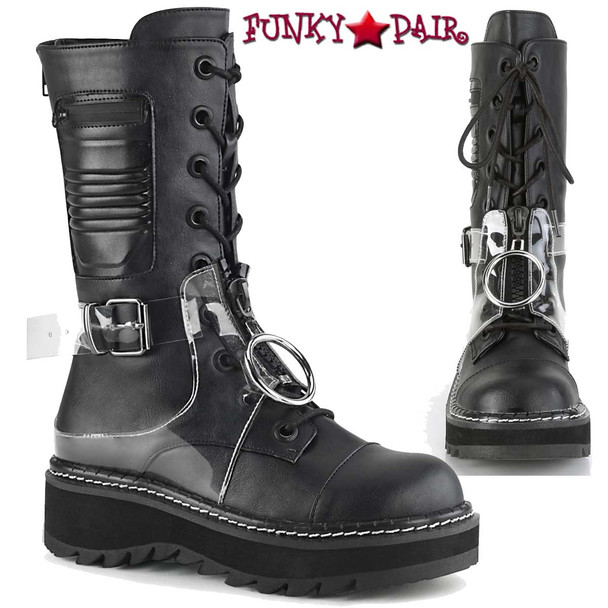 Demonia Boots   Lilith-271, Mid-Calf Lace-up Boots
