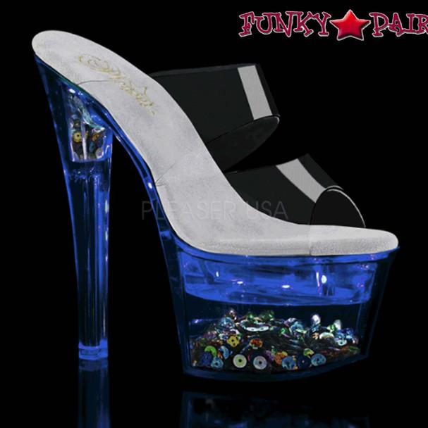 Pleaser Shoes| Flashdance-702SQ, Dual Strap Light-up Platform Sandal color blue