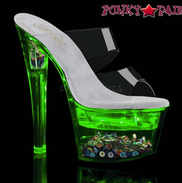 Pleaser Shoes| Flashdance-702SQ, Dual Strap Light-up Platform Sandal color green