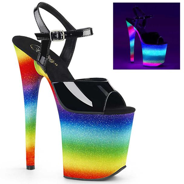 Exotic Dancer Shoes   Flamingo-809WR, Rainbow Glitter Platform Sandal