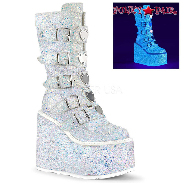 Glitter Boots | SWING-230G, Mid-Calf Glitters Boots with Heart Buckles Straps color white
