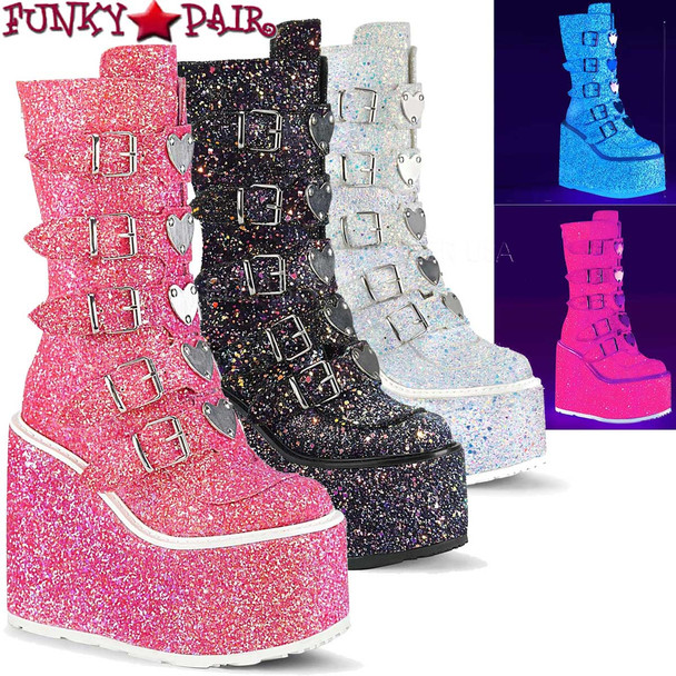 Demonia Boots SWING-230G, Mid-Calf Glitters Boots with Heart Buckles Straps