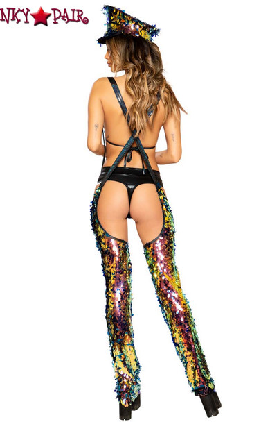Roma | R-3710, RAVE TEAR DROP SEQUIN TRIANGLE TOP with bottom R-3708 back view with R3709 and R-3668